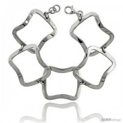"""Sterling Silver Stampato Square Link Bracelet, 1 1/8"""" (29 mm) wide"""