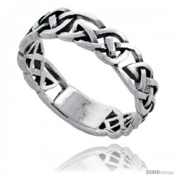 Sterling Silver Celtic Knot Wedding Band / Thumb Ring, 1/4 in wide -Style Tr502