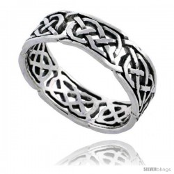 Sterling Silver Celtic Knot Wedding Band / Thumb Ring, 1/4 in wide -Style Tr503