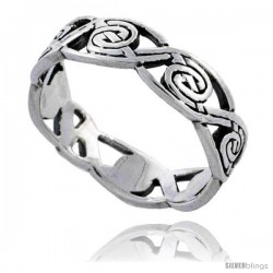 Sterling Silver Swirl Knot Wedding Band / Thumb Ring 3/16 in wide -Style Tr505