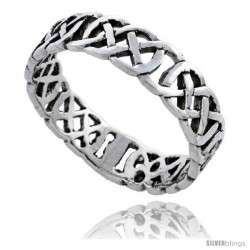 Sterling Silver Celtic Knot Wedding Band / Thumb Ring 3/16 in wide -Style Tr506
