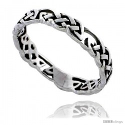 Sterling Silver Celtic Knot Wedding Band / Thumb Ring, 1/8 in wide