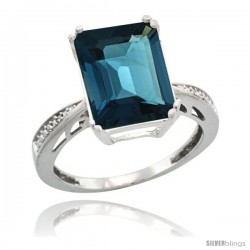 Sterling Silver Diamond Natural London Blue Topaz Ring 5.83 ct Emerald Shape 12x10 Stone 1/2 in wide -Style Cwg05149