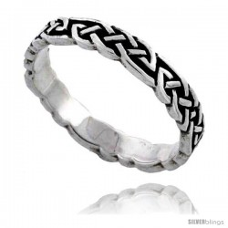 Sterling Silver Celtic Knot Wedding Band / Thumb Ring, 1/8 in wide -Style Tr508