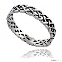 Sterling Silver Celtic Knot Wedding Band / Thumb Ring, 1/8 in wide -Style Tr509