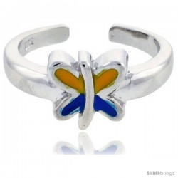 "Sterling Silver Child Size Butterfly Ring, w/ Blue & Yellow Enamel Design, 1/4"" (7 mm) wide"