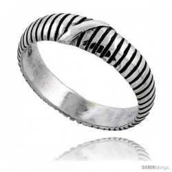 Sterling Silver Striped Wedding Band Ring 3/16 in wide