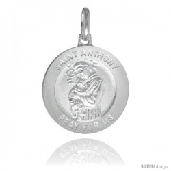 Sterling Silver Saint Anthony Medal 3/4 in Round Made in Italy, Free 24 in Surgical Steel Chain