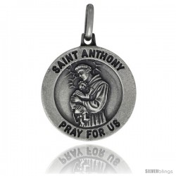 Sterling Silver Saint Anthony Medal 5/8 in Round Made in Italy, Free 24 in Surgical Steel Chain -Style Ip115