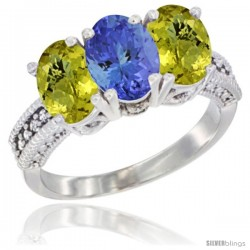 10K White Gold Natural Tanzanite & Lemon Quartz Sides Ring 3-Stone Oval 7x5 mm Diamond Accent