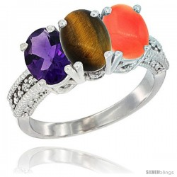 14K White Gold Natural Amethyst, Tiger Eye & Coral Ring 3-Stone 7x5 mm Oval Diamond Accent