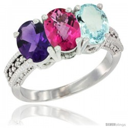 10K White Gold Natural Amethyst, Pink Topaz & Aquamarine Ring 3-Stone Oval 7x5 mm Diamond Accent