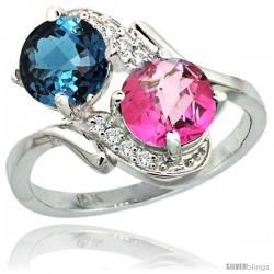 14k White Gold ( 7 mm ) Double Stone Engagement London Blue & Pink Topaz Ring w/ 0.05 Carat Brilliant Cut Diamonds & 2.34