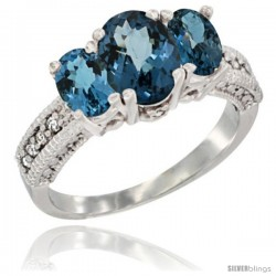 14k White Gold Ladies Oval Natural London Blue Topaz 3-Stone Ring Diamond Accent
