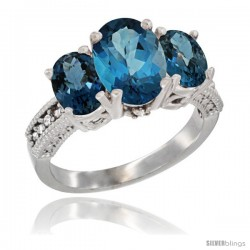 14K White Gold Ladies 3-Stone Oval Natural London Blue Topaz Ring Diamond Accent