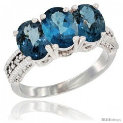 14K White Gold Natural London Blue Topaz & Ring 3-Stone 7x5 mm Oval Diamond Accent
