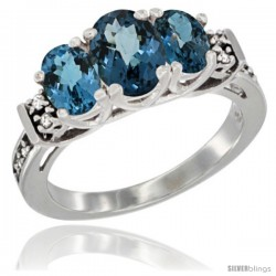 14K White Gold Natural London Blue Topaz Ring 3-Stone Oval with Diamond Accent
