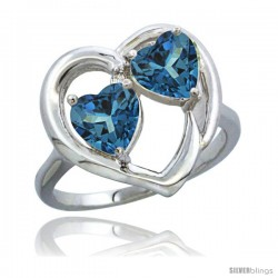 14k White Gold 2-Stone Heart Ring 6mm Natural London Blue Topaz & London Blue Topaz Diamond Accent