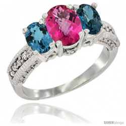 14k White Gold Ladies Oval Natural Pink Topaz 3-Stone Ring with London Blue Topaz Sides Diamond Accent