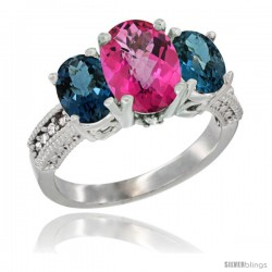 14K White Gold Ladies 3-Stone Oval Natural Pink Topaz Ring with London Blue Topaz Sides Diamond Accent