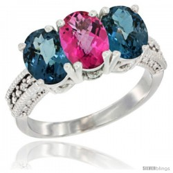 14K White Gold Natural Pink Topaz & London Blue Topaz Sides Ring 3-Stone 7x5 mm Oval Diamond Accent