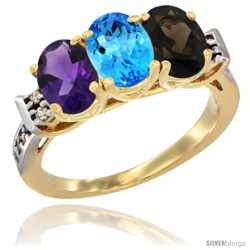 10K Yellow Gold Natural Amethyst, Swiss Blue Topaz & Smoky Topaz Ring 3-Stone Oval 7x5 mm Diamond Accent