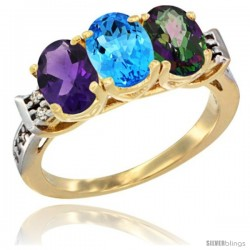 10K Yellow Gold Natural Amethyst, Swiss Blue Topaz & Mystic Topaz Ring 3-Stone Oval 7x5 mm Diamond Accent