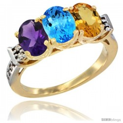 10K Yellow Gold Natural Amethyst, Swiss Blue Topaz & Citrine Ring 3-Stone Oval 7x5 mm Diamond Accent