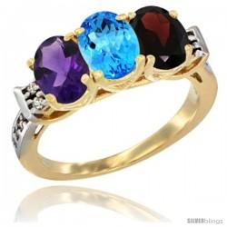 10K Yellow Gold Natural Amethyst, Swiss Blue Topaz & Garnet Ring 3-Stone Oval 7x5 mm Diamond Accent