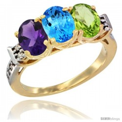 10K Yellow Gold Natural Amethyst, Swiss Blue Topaz & Peridot Ring 3-Stone Oval 7x5 mm Diamond Accent