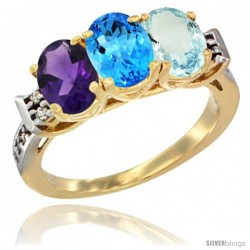 10K Yellow Gold Natural Amethyst, Swiss Blue Topaz & Aquamarine Ring 3-Stone Oval 7x5 mm Diamond Accent