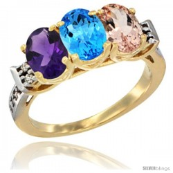 10K Yellow Gold Natural Amethyst, Swiss Blue Topaz & Morganite Ring 3-Stone Oval 7x5 mm Diamond Accent