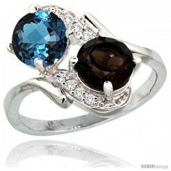 14k White Gold ( 7 mm ) Double Stone Engagement London Blue & Smoky Topaz Ring w/ 0.05 Carat Brilliant Cut Diamonds & 2.34