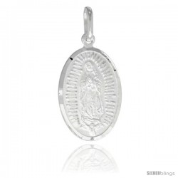 Sterling Silver Guadalupe Medal 7/8 x 1/2 in Oval Made in Italy, Free 24 in Surgical Steel Chain