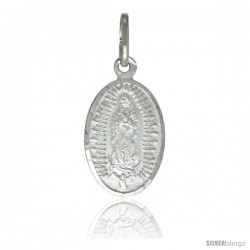 Sterling Silver Guadalupe Medal 5/8 x 3/8 in Oval Made in Italy, Free 24 in Surgical Steel Chain