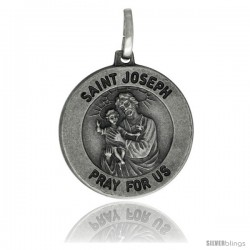 Sterling Silver Saint Joseph Medal 3/4 in Round Made in Italy, Free 24 in Surgical Steel Chain
