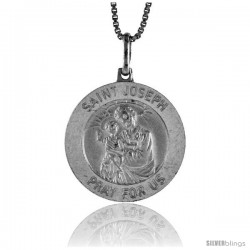Sterling Silver Saint Joseph Medal Made in Italy, Medal, 7/8 in Round