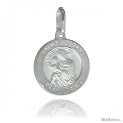 Sterling Silver Saint Joseph Medal 5/8 in Round Made in Italy, Free 24 in Surgical Steel Chain