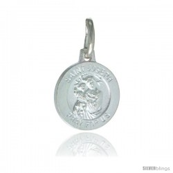 Sterling Silver Saint Joseph Medal Oval 1/2 in Oval Made in Italy
