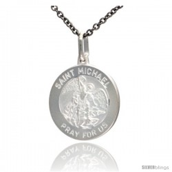 Sterling Silver Saint Michael Medal 3/4 in Round Antiqued Finish, Free 24 in Surgical Steel Chain