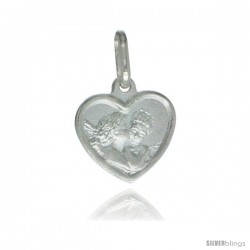 Sterling Silver Kissing Angels Heart Shape Medal Made in Italy, 1/2 x 1/2 in