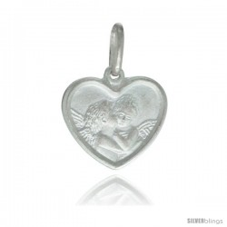 Sterling Silver Kissing Angels Heart Shape Medal Made in Italy, 5/8 x 5/8 in