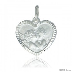 Sterling Silver Kissing Angels Heart Shape Medal Made in Italy, 3/4 x 3/4 in