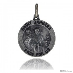 Sterling Silver Saint Barbara Medal 3/4 in Round Made in Italy, Free 24 in Surgical Steel Chain