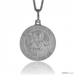 Sterling Silver Saint Barbara Pendant Made in Italy, Medal 3/4 in Round