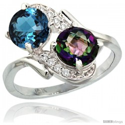 14k White Gold ( 7 mm ) Double Stone Engagement London Blue & Mystic Topaz Ring w/ 0.05 Carat Brilliant Cut Diamonds & 2.34
