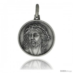Sterling Silver Jesus with Crown of Thorns Medal, 3/4 in Round Made in Italy, Free 24 in Surgical Steel Chain
