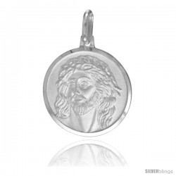 Sterling Silver Jesus with Crown of Thorns Medal, 3/4 in Round Made in Italy, Free 24 in Surgical Steel Chain -Style Ip136