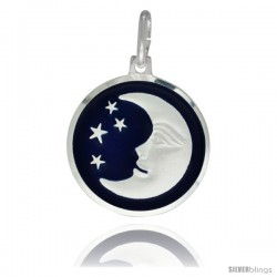 Sterling Silver Blue Enamel Moon & Star Pendant Made in Italy, 3/4 in Round Made in Italy, Free 24 in Surgical Steel Chain