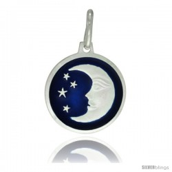 Sterling Silver Blue Enamel Moon & Star Pendant Made in Italy, 5/8 in Round Made in Italy, Free 24 in Surgical Steel Chain